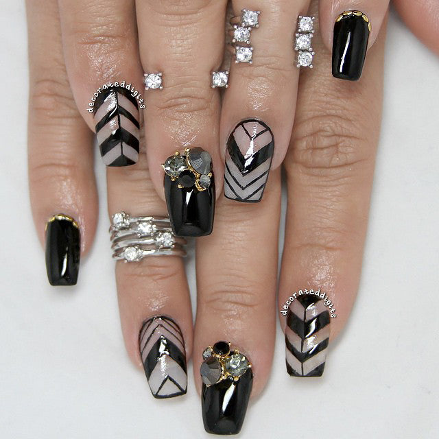 Nail Art Decoration - Onyx Crystal Cluster