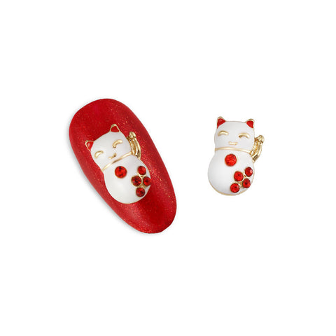 Nail Charm Jewelry / Beckoning Cat / Maneki-neko / Gold