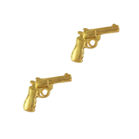 Nail Art Charm Jewelry 3D Pistol Gold