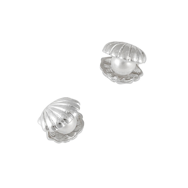 Nail Art Charm Jewelry 3D Shell with Pearl Silver