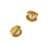 Nail Art Charm Jewelry 3D Shell with Pearl Gold