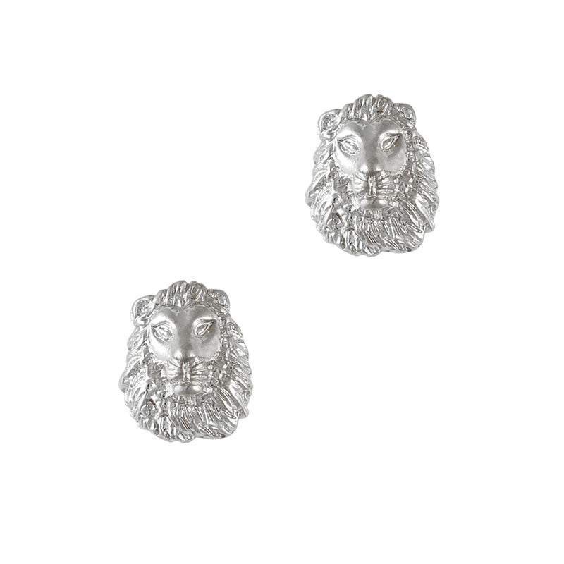 Nail Art Charm Jewelry 3D Lion Head Silver