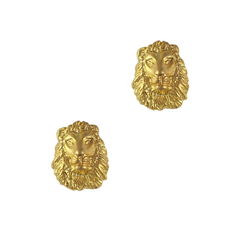 Nail Art Charm Jewelry 3D Lion Head Gold