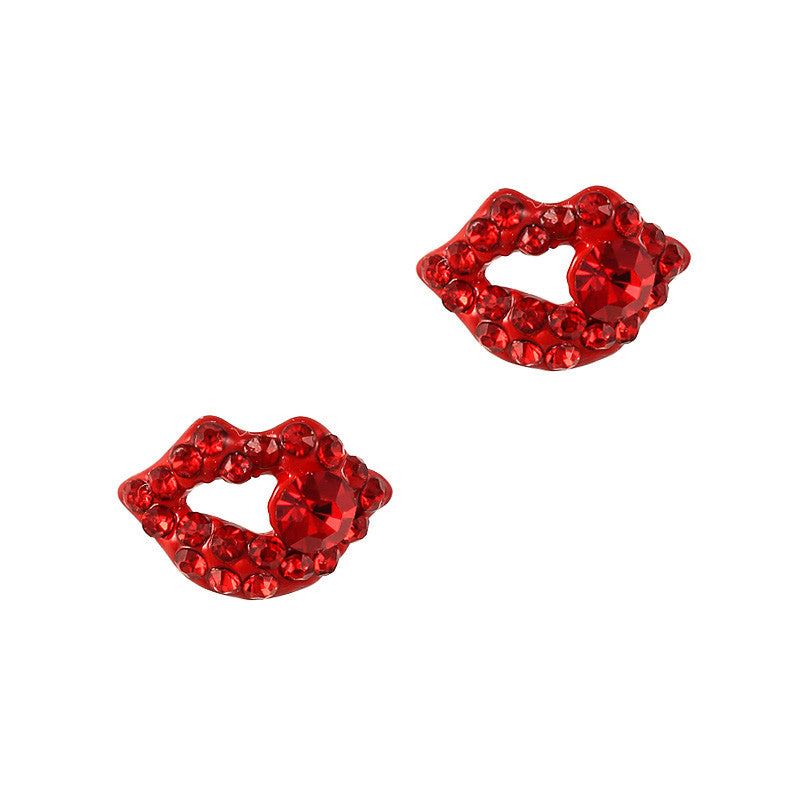 Nail Charm Jewelry 3D Diamond Lips Red