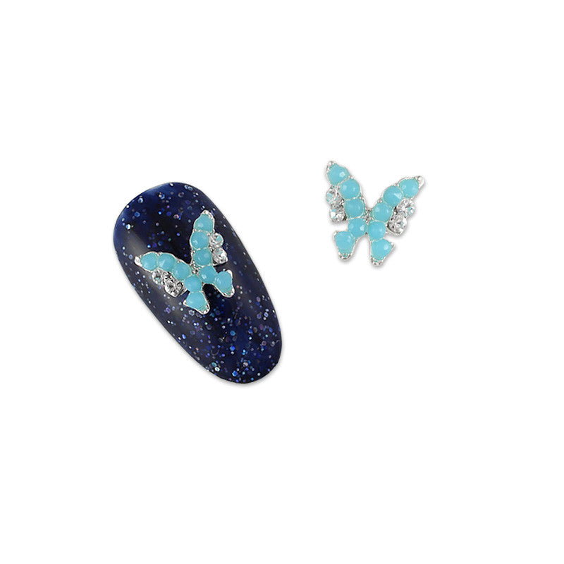 Nail Charm Jewelry 3D Beaded Butterfly Silver Blue