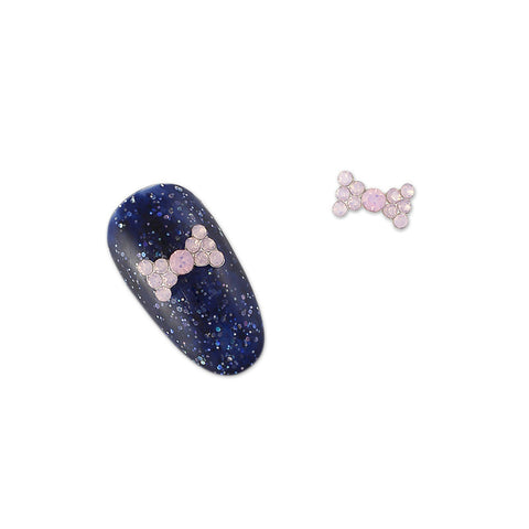 Nail Art Charms Simple Rhinestone Bow / Pink Opal