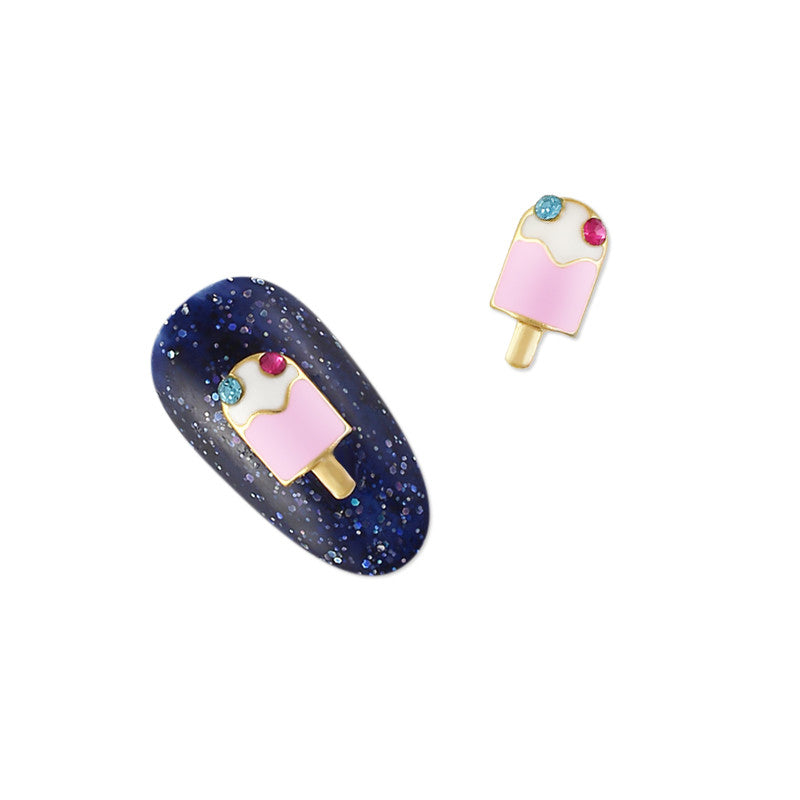 Nail Art Charm Pink Popsicle Rhinestone Crystal Jewelry