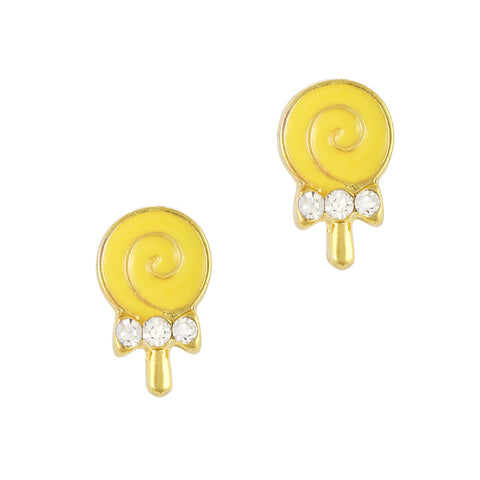 Nail Art Charm Yellow Lollipop Rhinestone Crystal Jewelry