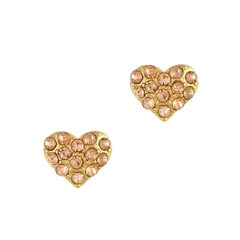 Nail Art Charm Gold Crystal Studded Heart Rhinestone Crystal Jewelry