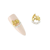 Nail Art Charm Gold Love Ringlet Rhinestone Crystal Jewelry