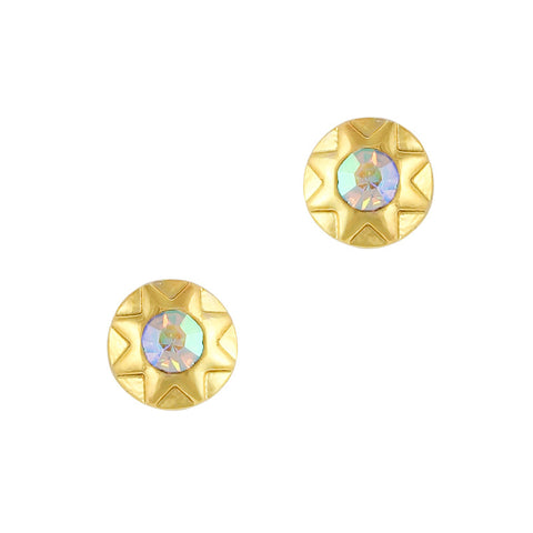 Nail Art Charm Gold Geometric Round Gem Rhinestone Crystal Jewelry