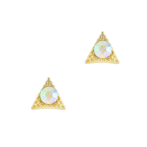 Nail Art Charm Gold Textured Triangle Gem Rhinestone Crystal Jewelry