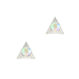 Nail Art Charm Silver Textured Triangle Gem Rhinestone Crystal Jewelry
