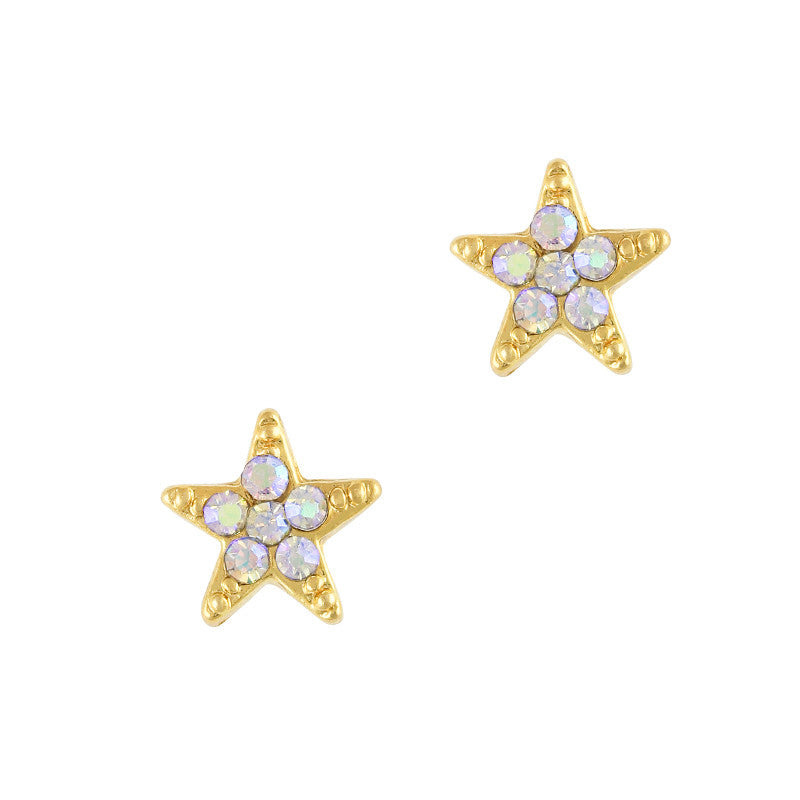3D Nail Art Charm Jewelry Bedazzled Star / Gold