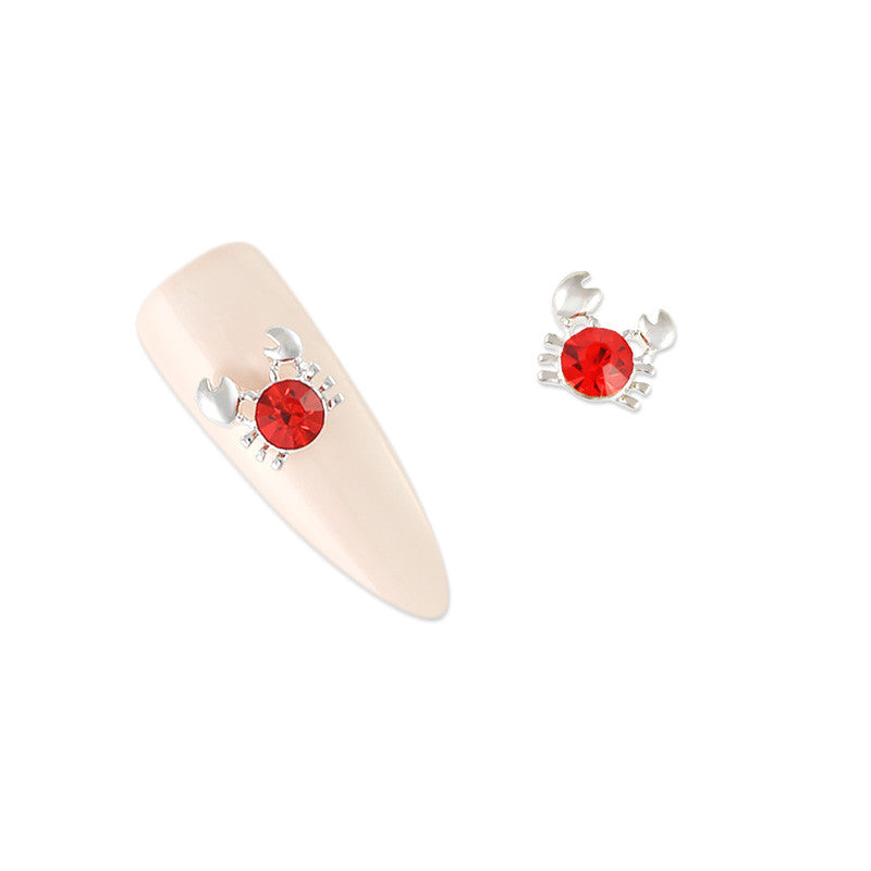 Nail Art Charme Crab / Red / Silver Crystal Jewelry