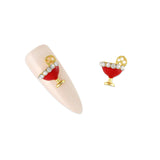 Nail Art 3D Metallic Charms Cosmopolitan / Red / Gold
