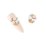 Nail Art 3D Metallic Charms Princess Crystal Cluster / Pink Opal