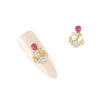 Nail Art Charm Pink Crystal Anchor Rhinestone Crystal Jewelry
