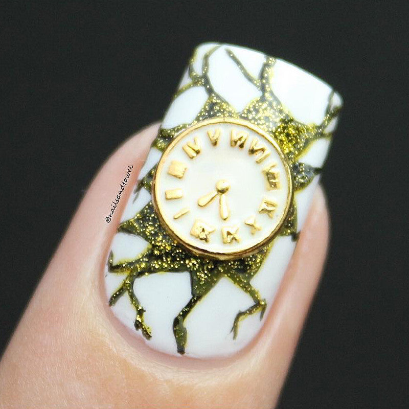 Nail Art Charm White Clock Rhinestone Crystal Jewelry