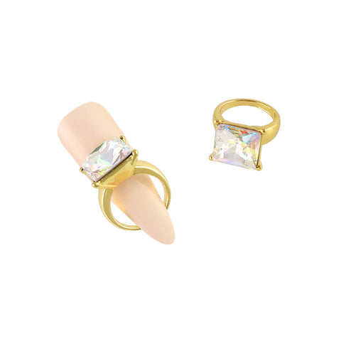 Square Diamond Ring Nail Charm Jewelry Gold 3D Bling AB
