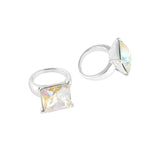 Square Diamond Ring Nail Charm Jewelry Silver 3D Bling AB
