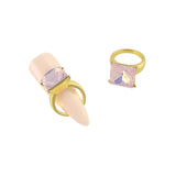 Square Diamond Ring Nail Charm Jewelry Gold 3D Bling Pink Opal