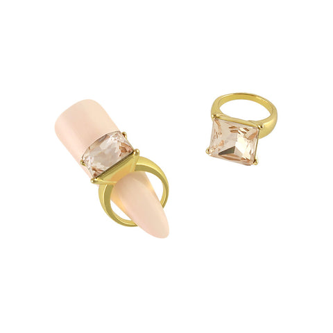Square Diamond Ring Nail Charm Jewelry Gold 3D Bling Champgne
