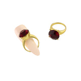 Diamond Ring Nail Charm Jewelry Gold 3D Bling Ruby Garnet
