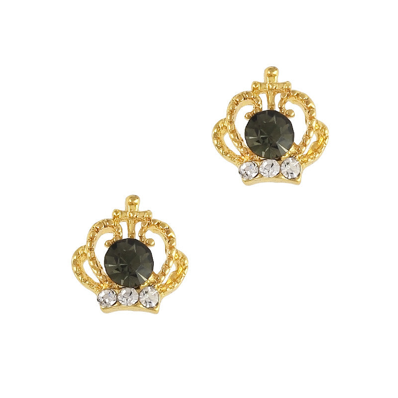 3D Nail Art Jewelry Charm - Odette's Crown Gold Black Onyx Diamond
