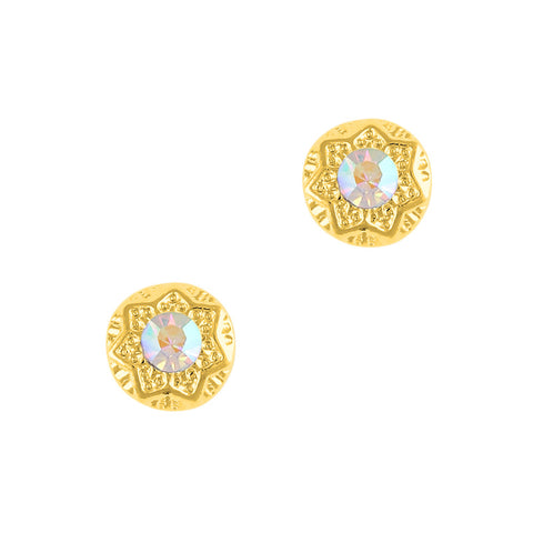 Nail Art Charm Gold Decorative Round Gem Rhinestone Crystal Jewelry