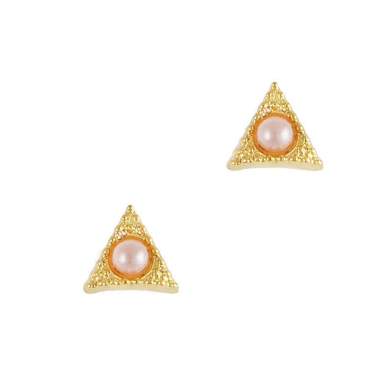 Nail Art Charm Gold Textured Triangle Gem Pink Pearl Jewelry