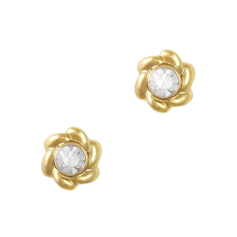 Twisted Round Gem Gold Clear Nail Charm Jewelry 3D