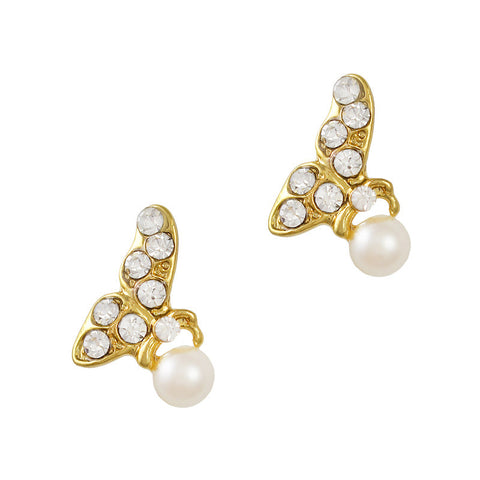 Butterfly of Spring Gold Pearl Nail Charm Jewelry 3D