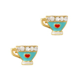 Lovely Tea Cup Gold Blue Nail Charm Jewelry 3D