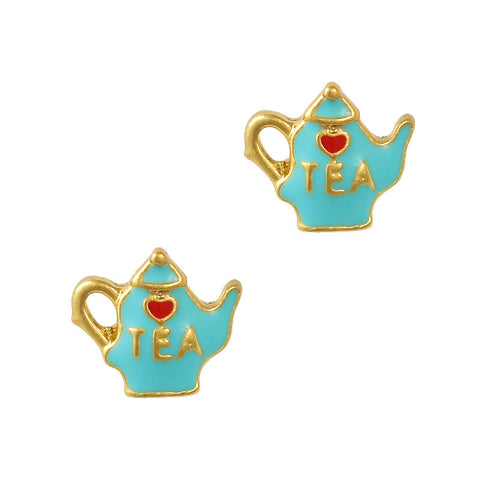 Lovely Tea Pot Gold Blue Nail Charm Jewelry 3D