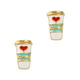 Coffee Lover's Mug Gold Nail Charm Jewelry 3D