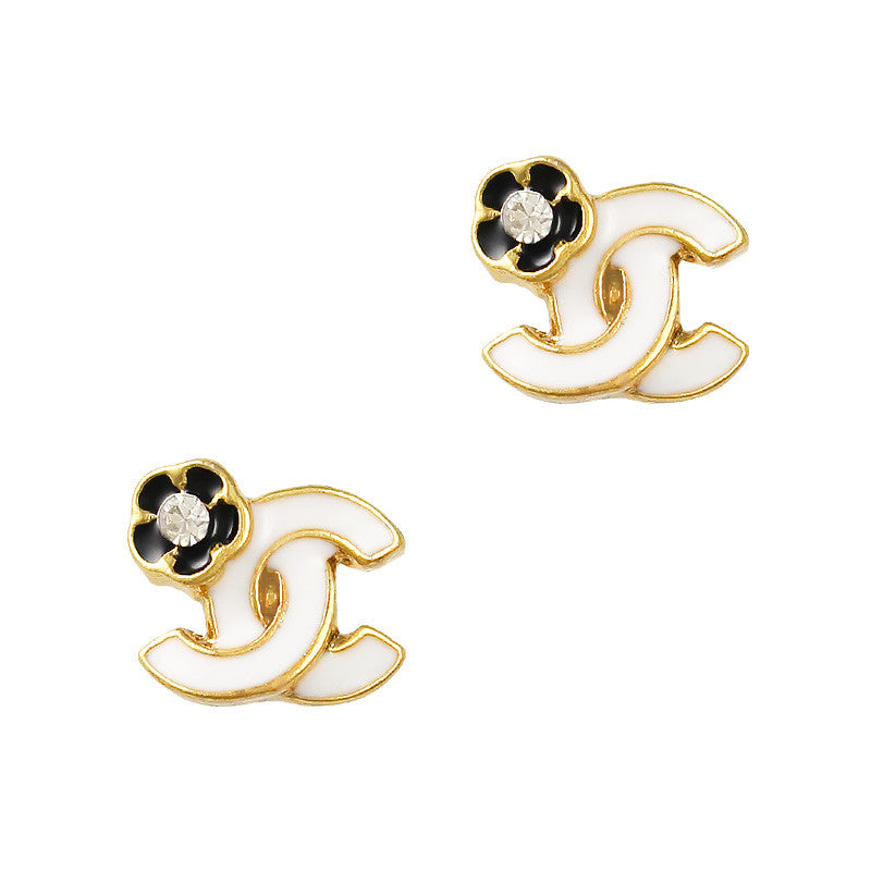 Camellia Coco Gold White Nail Charm Jewelry 3D