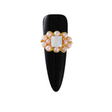 Oval Cluster with Faceted Stone Pearl Nail Charm Jewelry 3D