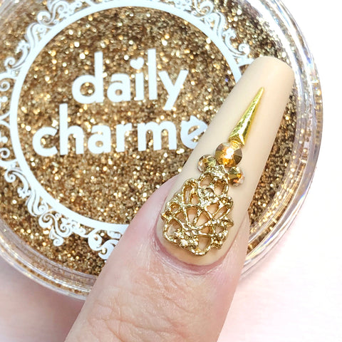 3D Nail Art Gold Queens Lace Armor Stylish