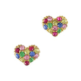 Colorful Crystal Studded Heart Japanese Nail Charm Style