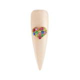 Colorful Crystal Studded Heart Cute Nail Decor