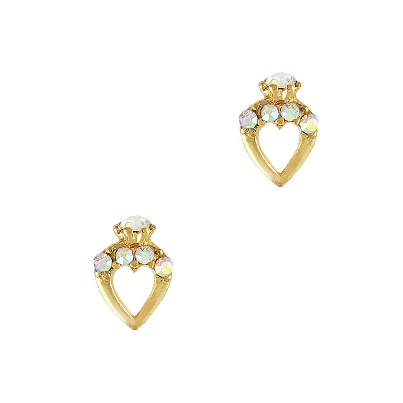 Tiny Heart Ring AB Crystal Cute Nail Decor