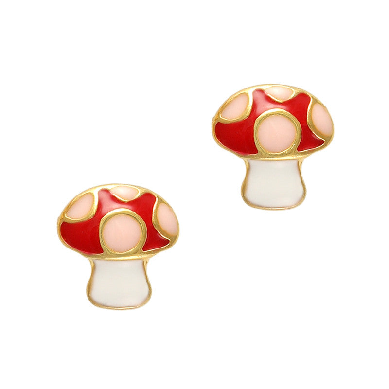 Tiny Mushroom Red Gold Magical Nail Art Supply