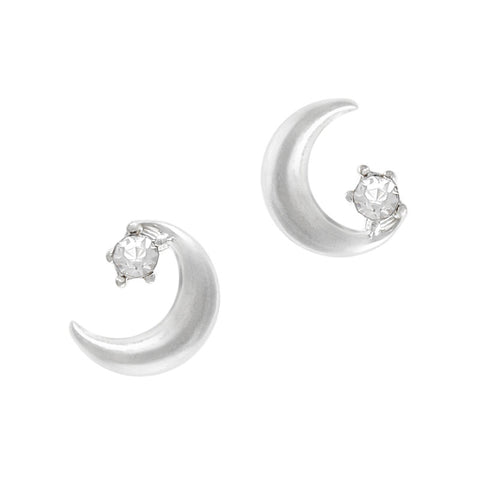 Silver Starry Crescent Moon Diamond Charm Nail Jewelry