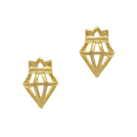 Cute Nail Charm Gold Crown Diamond Bling
