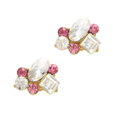 Oval Pink Crystal Cluster Bling Nails Charms