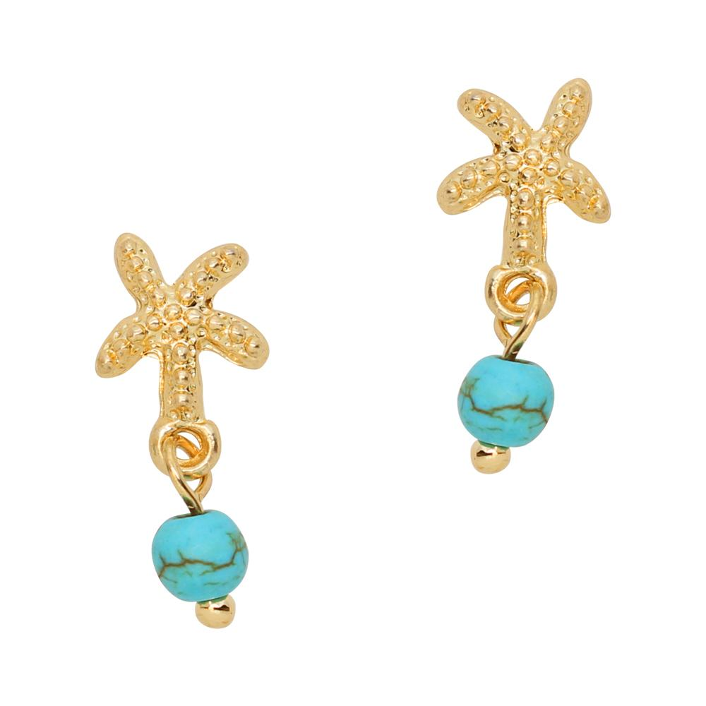 Starfish Turquoise Bead Dangle Gold Nail Charm