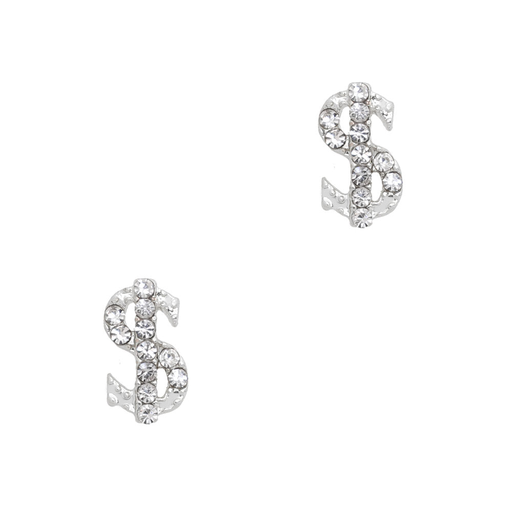 Bling Money Sign / Silver / Small Nail Charm