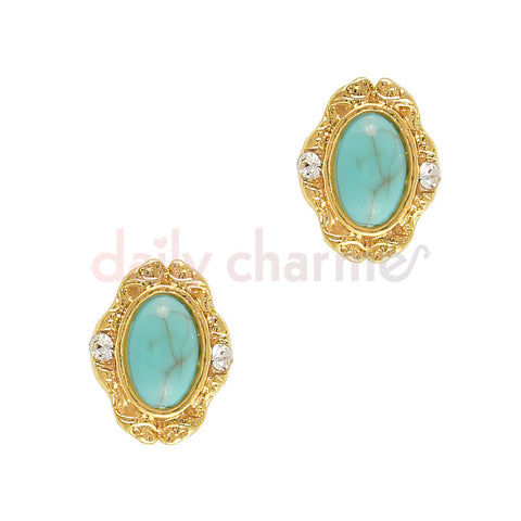 Art Deco Oval Turquoise Gem / Gold
