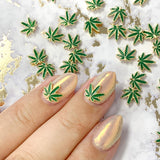 Gold Hemp Weed Leaf Nail Charms Jewelry for Nail Art